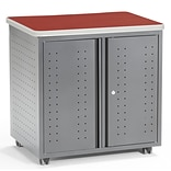 OFM Mesa Series Wheeled Locking Mobile Utility Station Cabinet with Laminate Top, Cherry (66746-CHY)