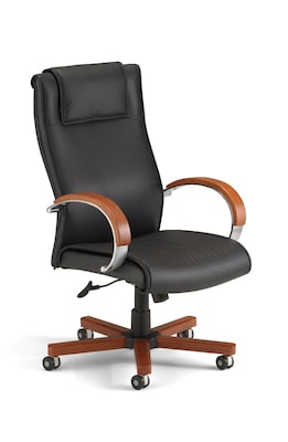 OFM Apex Series Leather High-Back Executive Office Chair, Black with Cherry (560-L-CHERRY)
