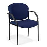 OFM Manor Series Deluxe Upholstered Stacking Guest Chair, Navy (404-804)