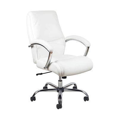 Magnificent Essentials By Ofm Ergonomic High Back Bonded Leather Executive Chair White With Chrome Finish Ess 6070 Wht Machost Co Dining Chair Design Ideas Machostcouk