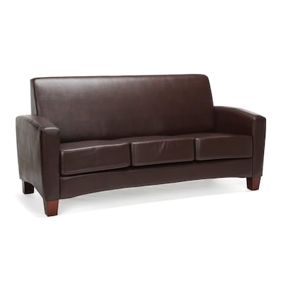 "Essentials by OFM 70.25""W Traditional Reception Sofa, Leather Upholstery, Brown (ESS-9052-BRN)"