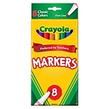Crayola Kids Markers, Fine, Assorted Colors, 8/Box (58-7709)