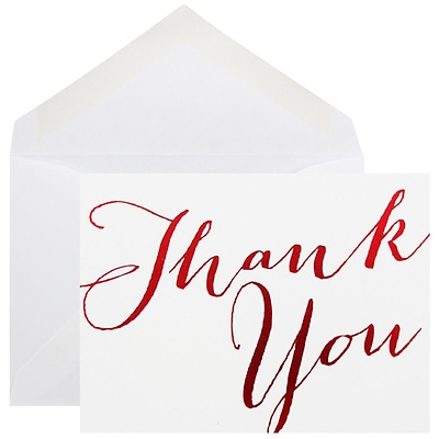 JAM Paper® Thank You Cards Set, White with Red Script, 10/pack (D41113TYRMB)