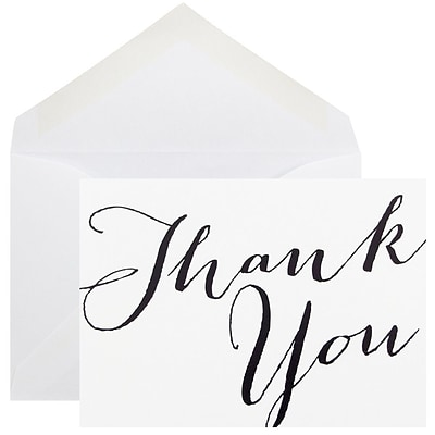 JAM Paper® Thank You Cards Set, White with Black Script, 10/pack (D41113TYBKMB)