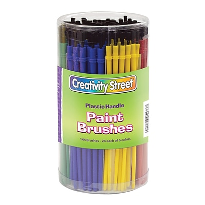 Chenille Kraft® Creativity Street® Economy Plastic Paint Brushes; 6-Color Assorted, 144/Pack (PAC5173)
