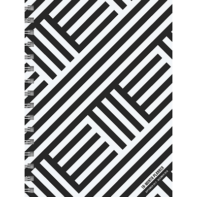 2018 Black & White Daily Weekly Monthly Planner