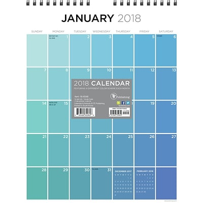 Tf Publishing 2018 For The Love Of Color Monthly Wall Calendar (18-6048)