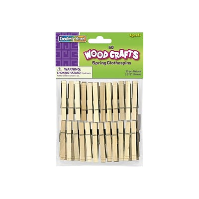 CREATIVITY STREET WOODCRAFTS Wood Clothespins, Natural, 50/Pack (AC3658-01)