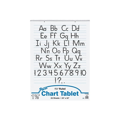 Pacon 32 X 24 Manuscript Cover Chart Tablet, Ruled, White, 25 Sheets (74710)