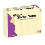 Charles Leonard Sticky Notes, 4 x 6, Lined, 12 Pads Per Pack (CHL33546)