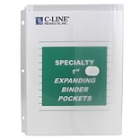 C-Line® Specialty Binder Pocket w/ Hook & Loop Closure, Letter Size, Clear, Pack of 10 (CLI33747)