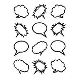Teacher Created Resources Superhero Black & White Speech/Thought Bubbles Mini Accents, 36/Pack (TCR5