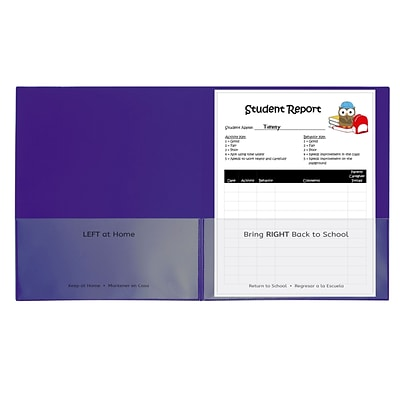 C-Line YLW 25ct Teacher School to Home 2 Pocket Purple Folders 25/Box (CLI32009)