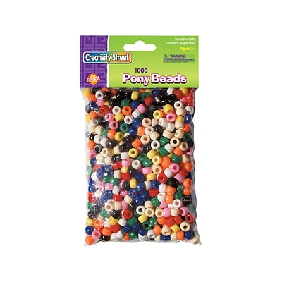 Creativity Street Pony Beads, Assorted Colors, 1000/Pack (3552)