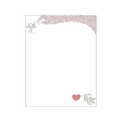 Great Papers! Bow And Arrow Valentine Letterhead, Multicolor, 80/Pack (2019071)