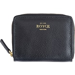 ROYCE Leather Zippered Credit Card Case, Black (148-BLACK-4S)