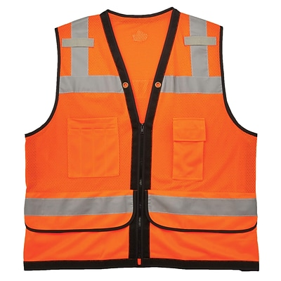 GloWear® 8253HDZ Type R Class 2 Heavy-Duty Mesh Surveyors Vest, 4XL/5XL, 1 pack (23319)