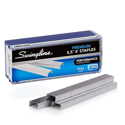 Swingline® S.F.® 4® Premium Staples, 1/4 Length, 210/Per Strip, 5,000/Box (35450)