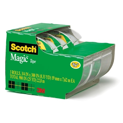 Scotch® Magic™ Tape with Refillable Dispenser, Invisible, Write On, Matte Finish, 3/4 x 8.33 yds., 3 Rolls (3105)