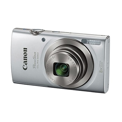 Canon® PowerShot ELPH 180 20 MP Compact Digital Camera, 8x Optical Zoom, 5 - 40 mm Focal Length, Silver