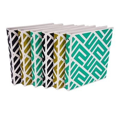fasion design 3 ring binder maze print 1 inch round rings 6 pack