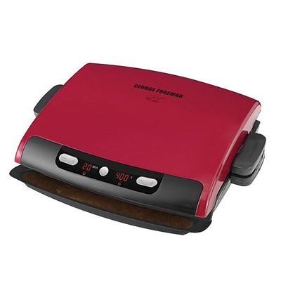 George Foreman® 6-Serving Removable Plate Grill & Panini Grill, Red (GRP95R)