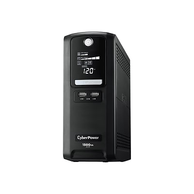 CyberPower Intelligent LCD 1500 VA Battery Backup UPS, 10-Outlets, Black (LX1500GU)