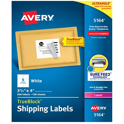 Avery TrueBlock Laser Shipping Labels, Sure Feed Technology, 3 1/3 x 4 White, 600/Box (5164)