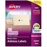 Avery Matte Clear Address Labels, Sure Feed Technology, Laser, 1 x 2-5/8, 1,500 Labels (5660)