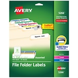 Avery Laser/Inkjet File Folder Labels, 2/3 x 3 7/16, Assorted Colors, 30 Labels/Sheet, 25 Sheets/P