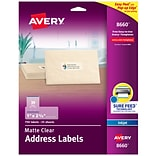 Avery Matte Clear Address Labels, Sure Feed Technology, Inkjet, 1 x 2-5/8, 750 Labels (8660)