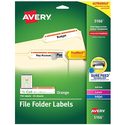 Avery TrueBlock Laser/Inkjet File Folder Labels, 2/3 x 3 7/16, Orange, 30/Sheet, 25 Sheets/Pack (5166)