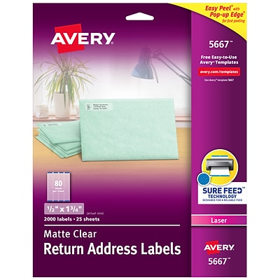 Avery Matte Clear Return Address Labels, Sure Feed Technology, Laser, 1/2 x 1-3/4, 2,000 Labels (5667)