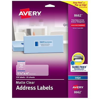 Avery Matte Clear Address Labels, Sure Feed Technology, Inkjet, 1-1/3 x 4, 350 Labels (8662)