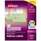 Avery Matte Clear Address Labels, Sure Feed Technology, Laser, 1 x 4, 1,000 Labels (5661)
