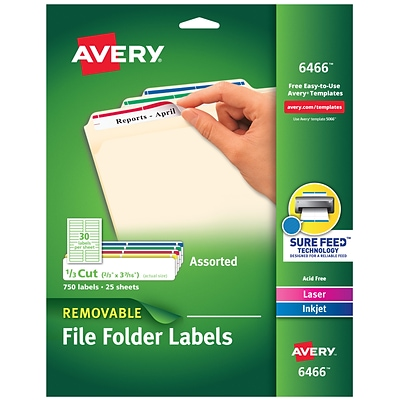Avery Removable Laser/Inkjet File Folder Labels, 2/3 x 3 7/16, Assorted Colors, 30 Labels/Sheet, 25 Sheets/Pack (06466)