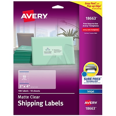 Avery Matte Clear Address Labels, Sure Feed Technology, Inkjet, 2 x 4, 100 Labels (18663)