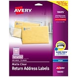 Avery Matte Clear Return Address Labels, Sure Feed Technology, Inkjet, 2/3 x 1-3/4, 600 Labels (18