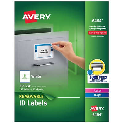 Avery® Inkjet/Laser Removable Labels, White, 150/Pack (6464)