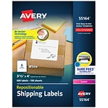 Avery Repositionable Laser Shipping Labels, Sure Feed Technology, 3 1/3 x 4, White, 6 Labels/Sheet
