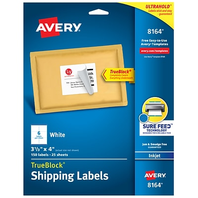 Avery TrueBlock Inkjet Shipping Labels, Sure Feed Technology, 3 1/3 x 4, White, 6 Labels/Sheet, 25 Sheets/Pack (08164)