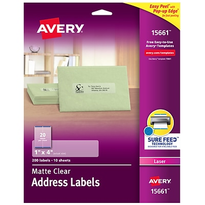 Avery Matte Clear Address Labels, Sure Feed Technology, Laser, 1 x 4, 200 Labels (15661)