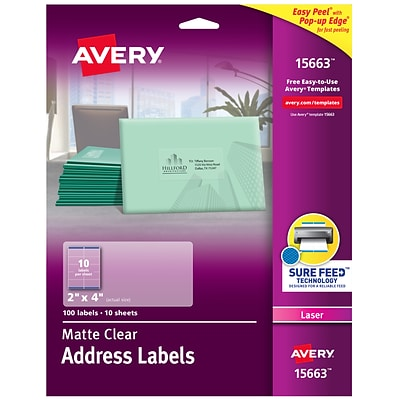 Avery Matte Clear Shipping Labels, Sure Feed Technology, Laser, 2 x 4, 100 Labels (15663)