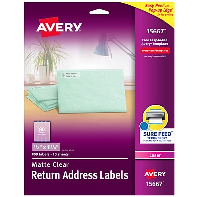 Avery Matte Clear Return Address Labels, Sure Feed Technology, Laser, 1/2 x 1-3/4, 800 Labels (15667)