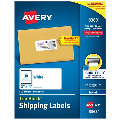 Avery TrueBlock Inkjet Shipping Labels, Sure Feed Technology, 4H x 2W, White, 500/Box (8363)