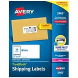 Avery Laser Shipping Labels, Sure Feed Technology, 2W x 4L, White, 10/Sheet, 250 Sheets/Pack (5963
