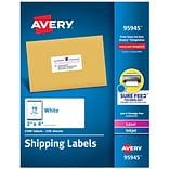 Avery Laser/InkJet Shipping Labels with Sure Feed Technology, 2 x 4, White, 2500 Labels/Pack (9594