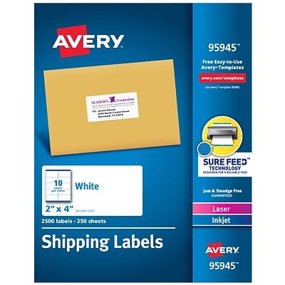 Avery Laser/InkJet Shipping Labels with Sure Feed Technology, 2 x 4, White, 2500 Labels/Pack (95945)