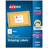 Avery Laser/InkJet Shipping Labels, Sure Feed Technology, Permanent Adhesive, 3-1/3 x 4, 1,500 Lab