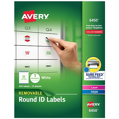Avery Removable Laser/Inkjet Identification Labels, 1 Dia., White, 63 Labels/Sheet, 15 Sheets/Pack (6450)